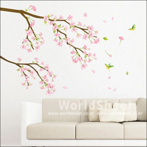 Pink Cherry Blossom Flower Home Decor Mural Art Removable Wall Sticker Kr 67 Wall Decor Stickers Wall Deco Asian Home Decor