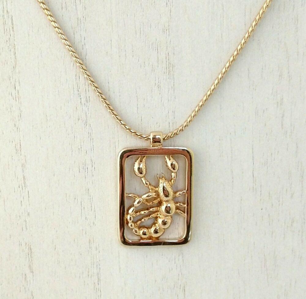 Scorpion Necklace Rhinestone Birthstone Charm Scorpio Zodiac Sign Constellation