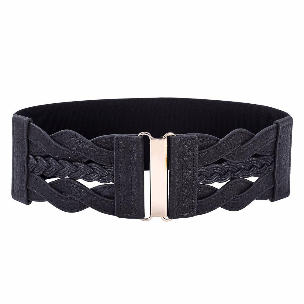 Fashion Wide Elastic Leather Womens Waist Belt