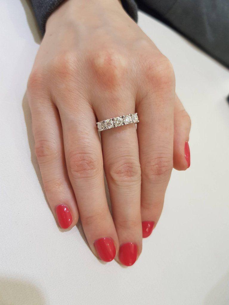 1 00 Carat Round White Diamond 5 Stone 18kt Rose Gold Modern Half Eternity Ring Eternity Ring Eternity Ring Diamond Rose Gold Eternity Ring