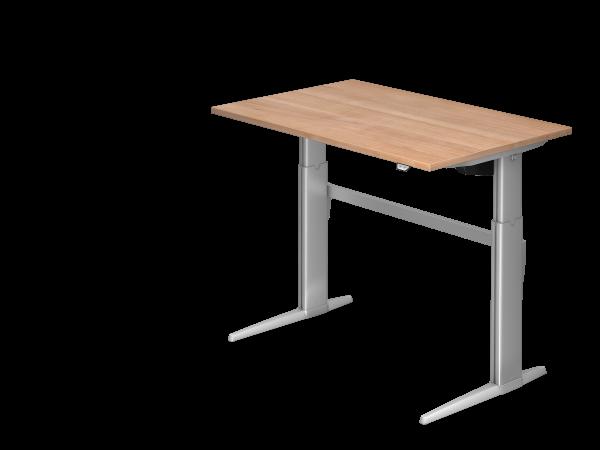 Sitz Steh Schreibtisch Elektrisch Xe12 120x80cm Nussbaum Gestellfarbe Silber Schreibtisch Tisch Elektrisch