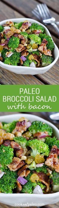 Paleo broccoli salad with bacon is a perfect side dish for a summer barbecue. It's gluten-free, grain-free and dairy-free. ~ http://cookeatpaleo.com
