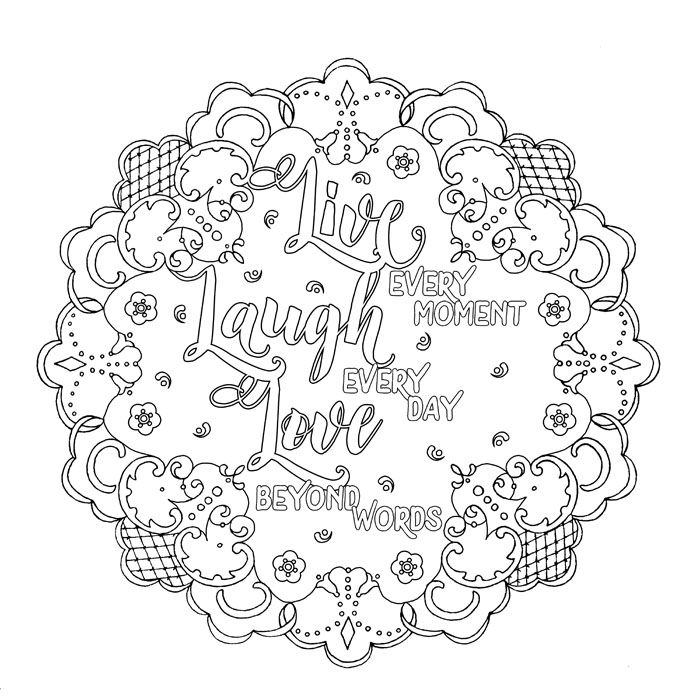 01 Live Love Laugh Flat Jpg Love Coloring Pages