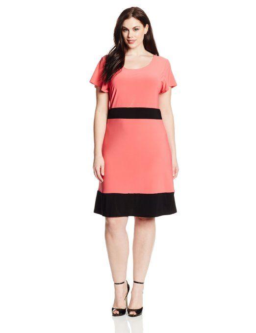 3cef3dc8d6c Star Vixen Women s Plus-Size Colorblock Short Sleeve Skater Dress ...