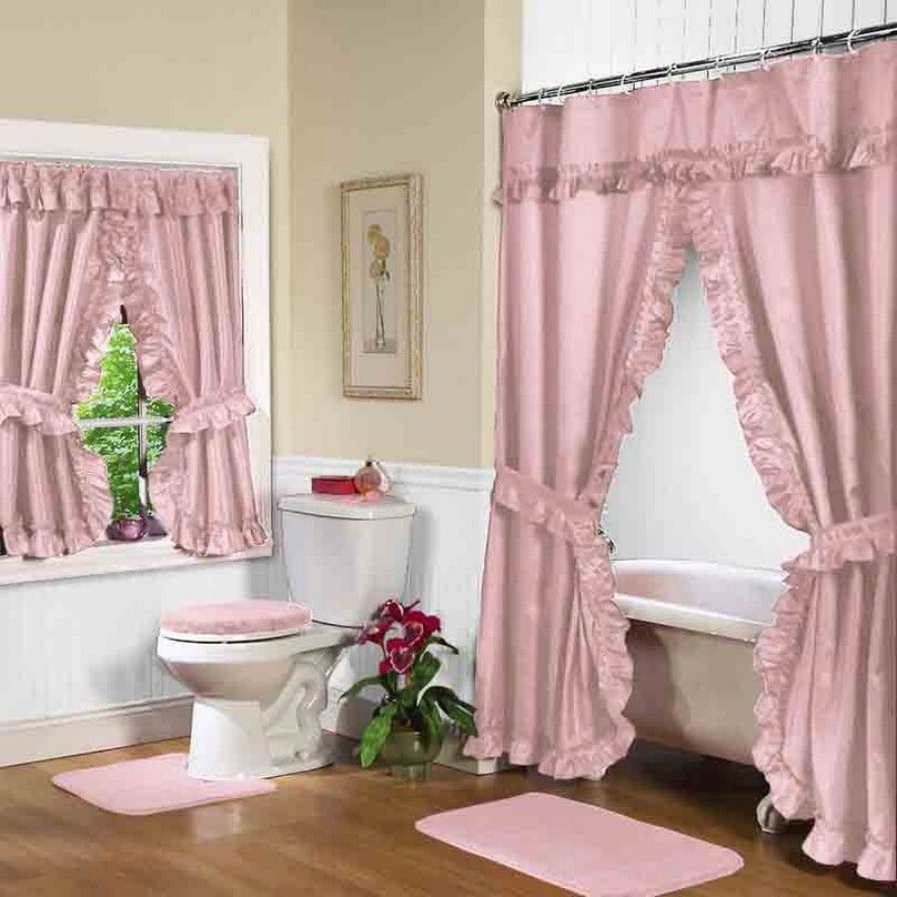 Bathroom Pink Double Swag Shower Curtain With Valance Fabric - Bathroom shower and window curtain sets for small bathroom ideas