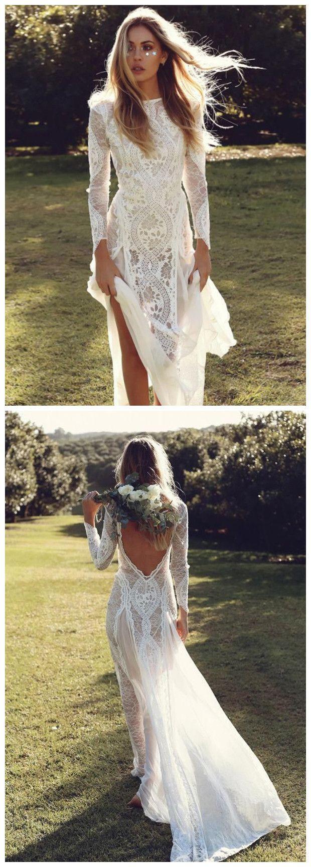 Sheathcolumn bateau lace wedding dress with long sleeve open back