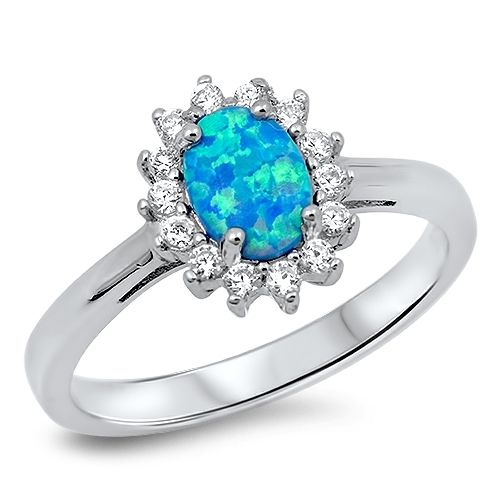 Solid 925 Sterling Silver AAA+ CZ Blue Lab Opal Ring --Sz:,6,8,9. Starting at $1