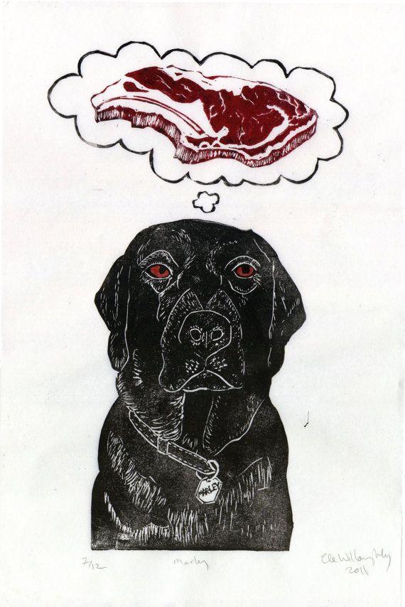 Black Lab Dreams Of Meat Linocut Lino Block Print Of Black
