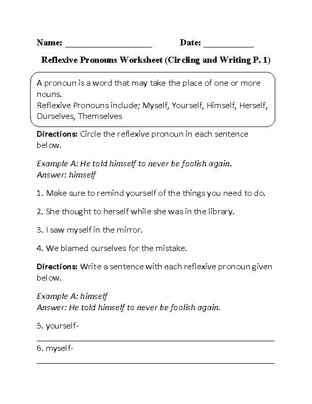 reflexive pronouns worksheet circling and writing part 1 beginner pronoun fun pronoun. Black Bedroom Furniture Sets. Home Design Ideas