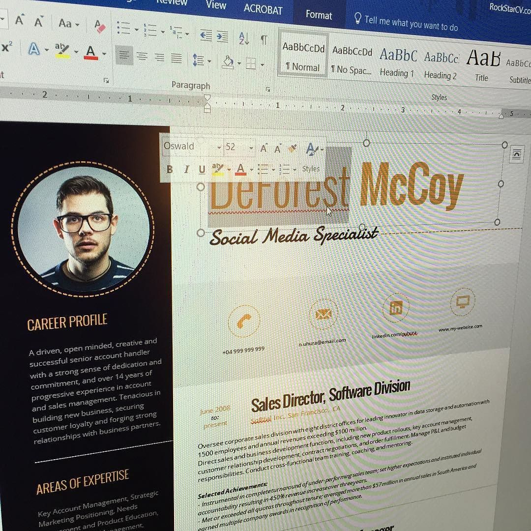 100% Editable with Microsoft Word #Resume #Template https://www ...