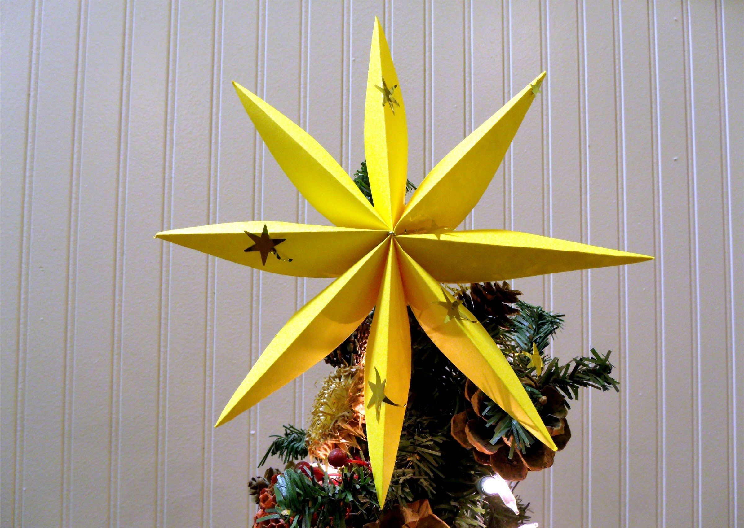 How To Fold A Star For Christmas Tree Or Decoration Very Easy To Make When I Made Christmas Tree Star Christmas Star Decorations Diy Christmas Tree Topper