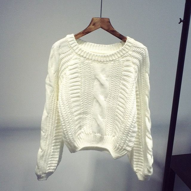 Women New 2016 Arrival Crop Sweater Vintage Twist Knitted Sweater Ladies'Casual Autumn Winter Short Knitwear Pullover B324