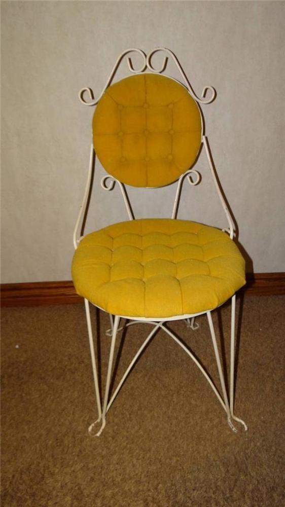 Vintage Teena Original Wrought Iron Tufted Yellow Gold