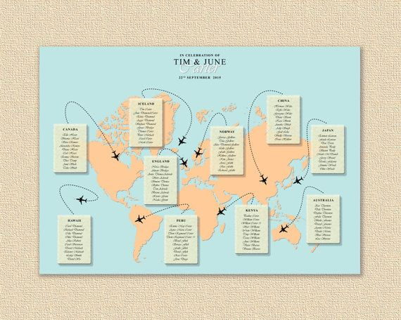 World map wedding seating chart map wedding table plan wedding world map wedding seating chart map wedding table plan wedding seating travel wedding gumiabroncs Choice Image