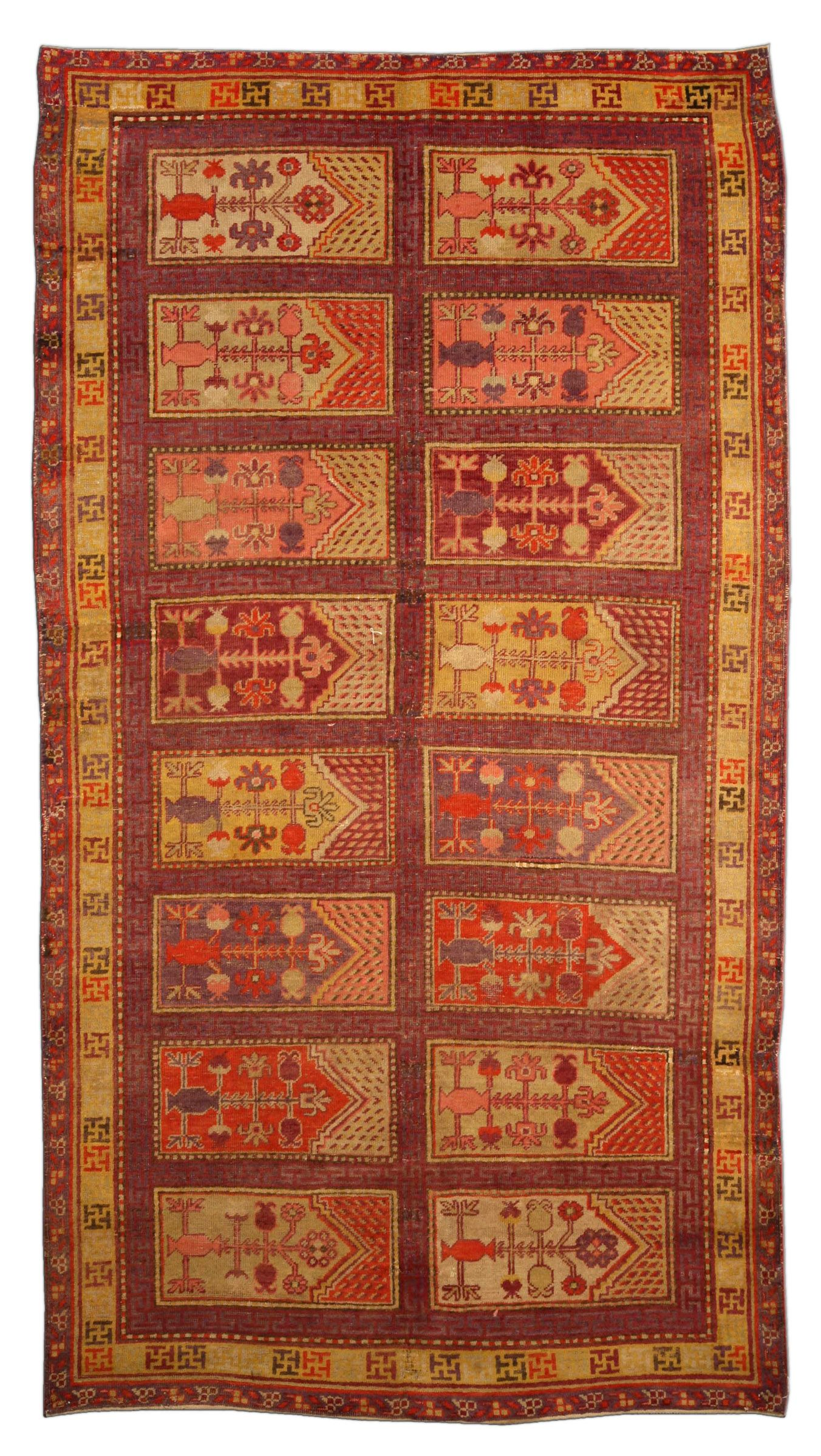 A Khotan Rug Bb4080 A Second Quarter 20th Century Khotan Samarkand Rug The Purple Field With A Subtle Greek Key Motif A Asian Rugs Rugs Handmade Wool Rugs