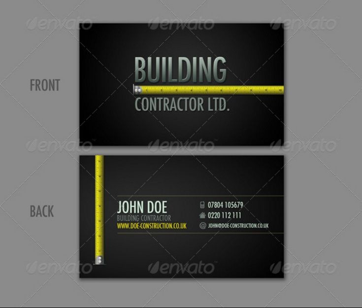 Construction Business Card Template PSD And InDesign Format - Business card template for indesign
