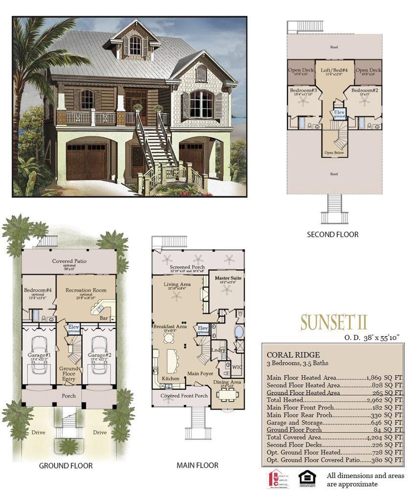 Sunset Ii Elevation And Floor Plan Layout Floor Plans Floor Plan Layout Custom Homes