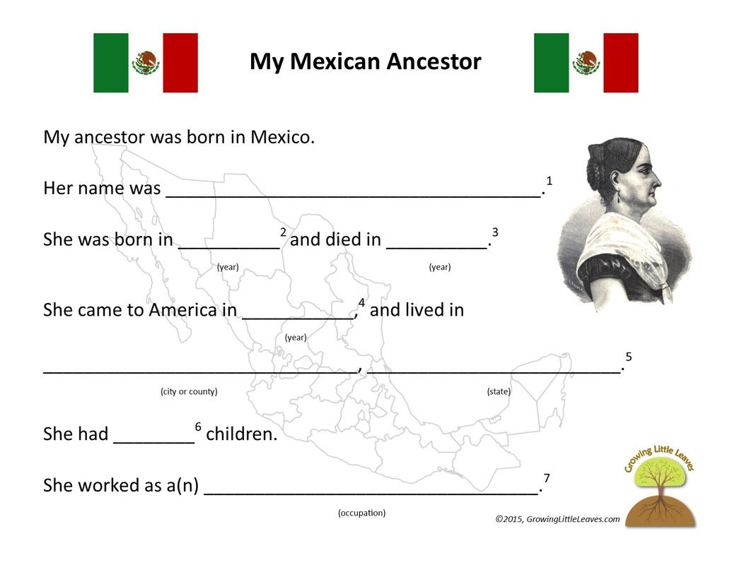 My Mexican Ancestor Worksheet // GrowingLittleLeaves.com | Genealogy ...