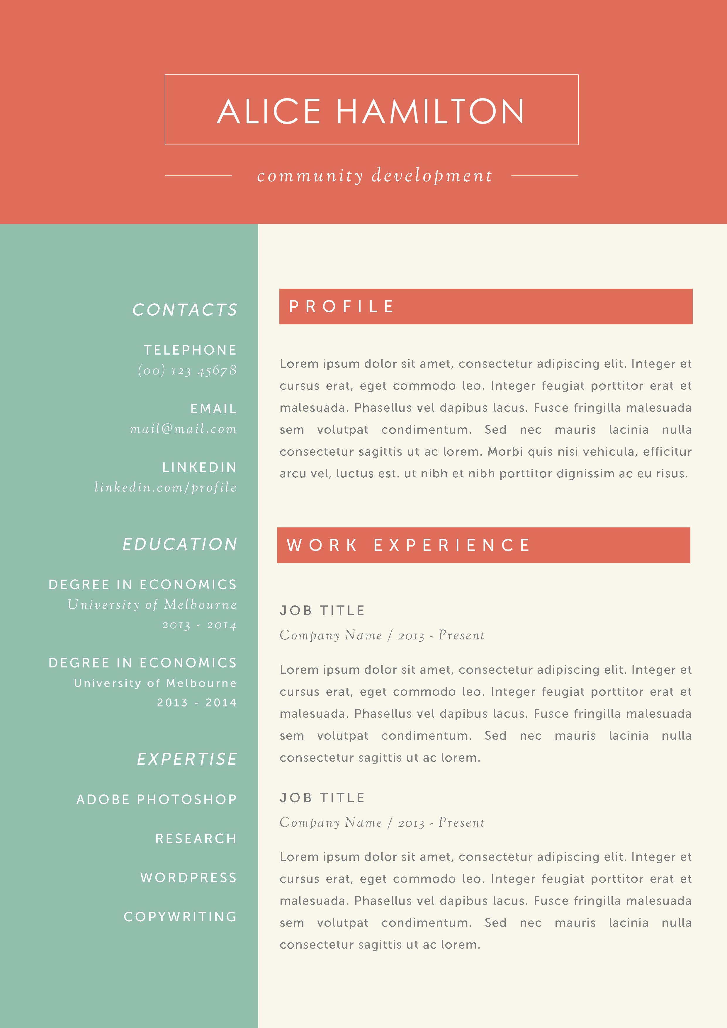 The Alice Resume Microsoft word resume template, Free