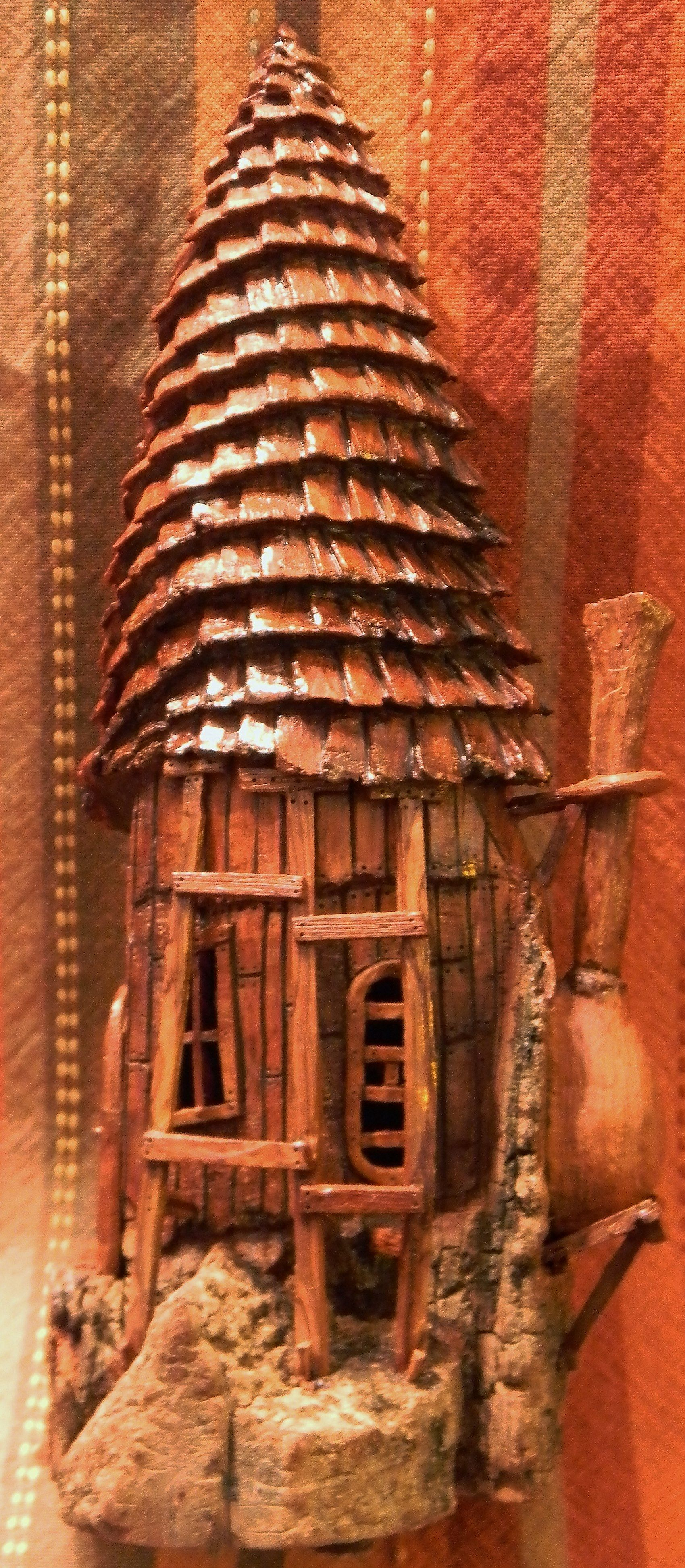 Right spiral roof house cottonwood bark carving by n