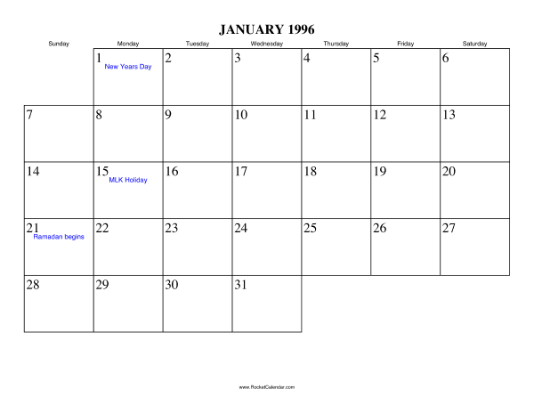 Free Printable Calendar For January 1996 View Online Or Print In