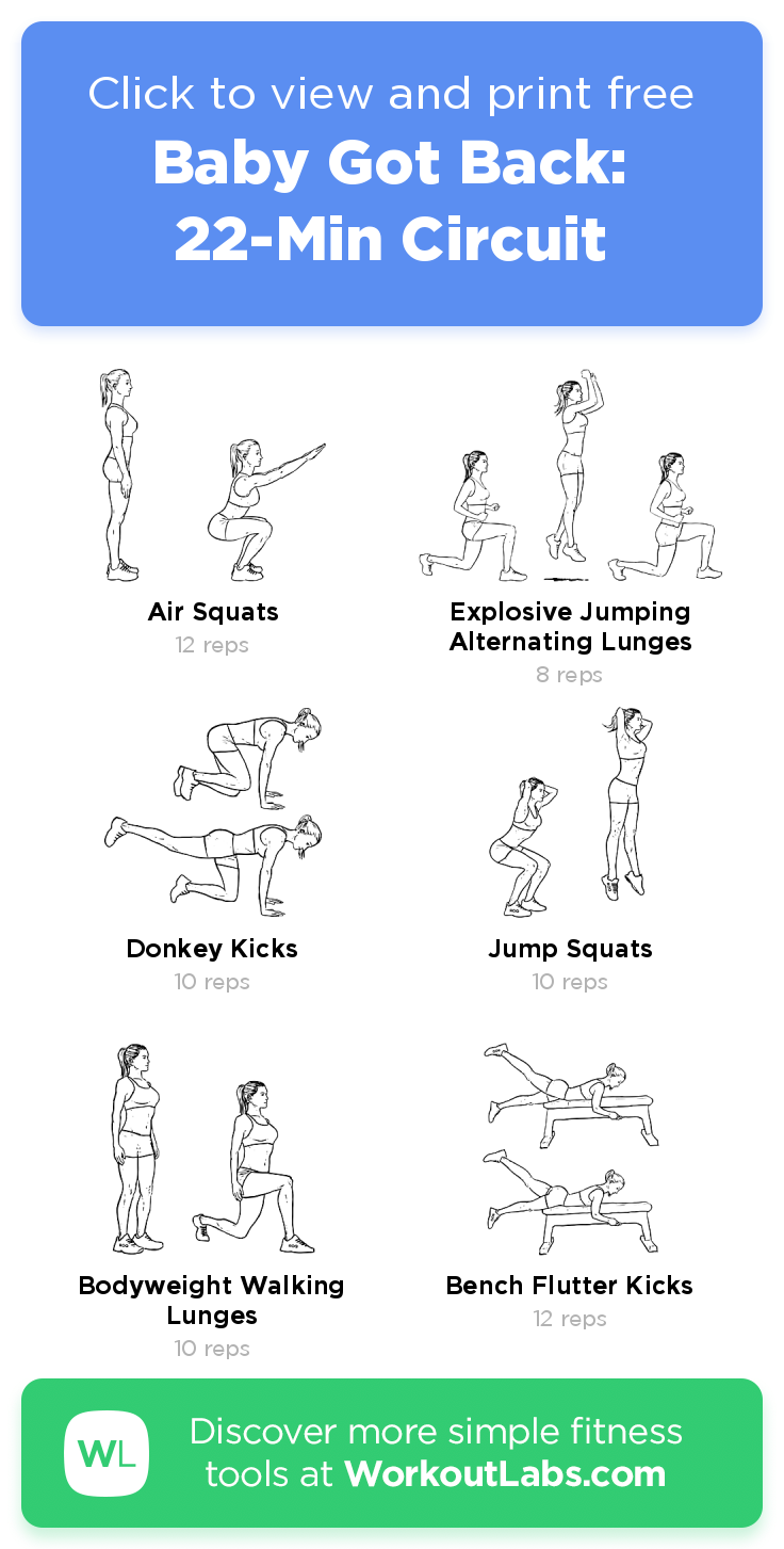Baby Got Back 22 Min Circuit Click To View And Print This Illustrated Exercise Plan Created With Workoutlabsfit Workout Labs Fitness Resistance Workout