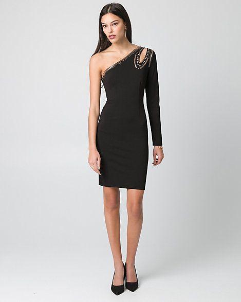 Embellished+Scuba+Knit+One+Shoulder+Dress