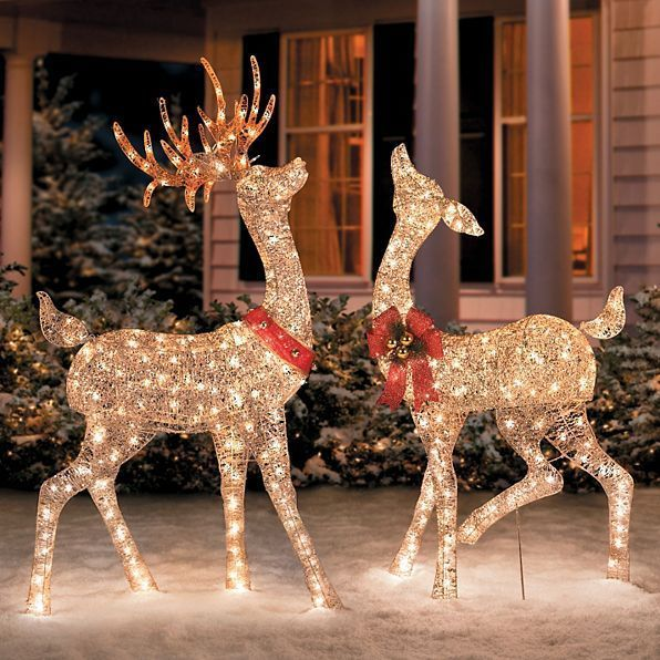 christmas 2 reindeer buck doe deer lighted indoor outdoor yard art figure decor unbranded - Lighted Deer Christmas Lawn Ornaments