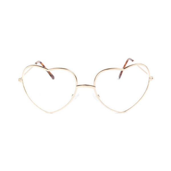 3TEN Love Heart Shaped Clear Lens Glasses with Metal Frame Gold and... ❤ beef276ecc