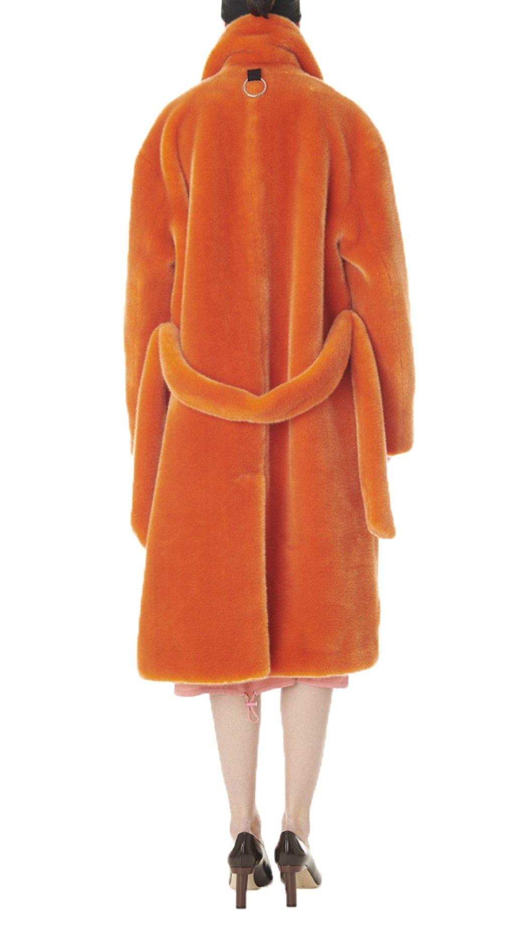 6e4013b5867b Tibi Luxe Faux Fur Oversized Coat - Orange Xxs Yellow
