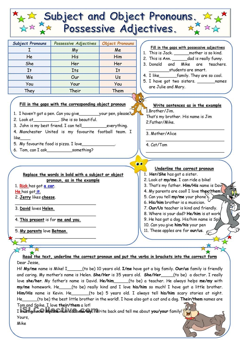Subject and Object Pronouns. Possessive Adjectives
