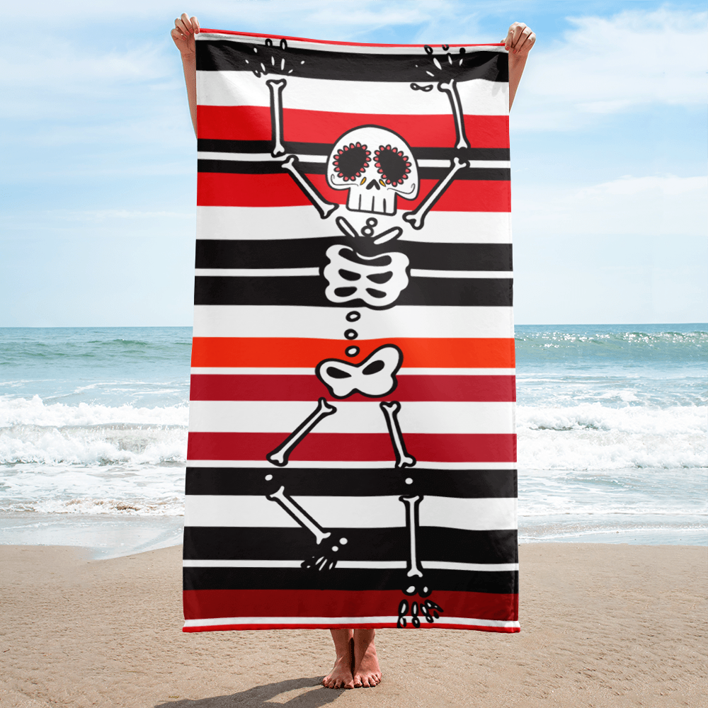Black White Red Stripes Beach Towel With Skeleton Punk Your