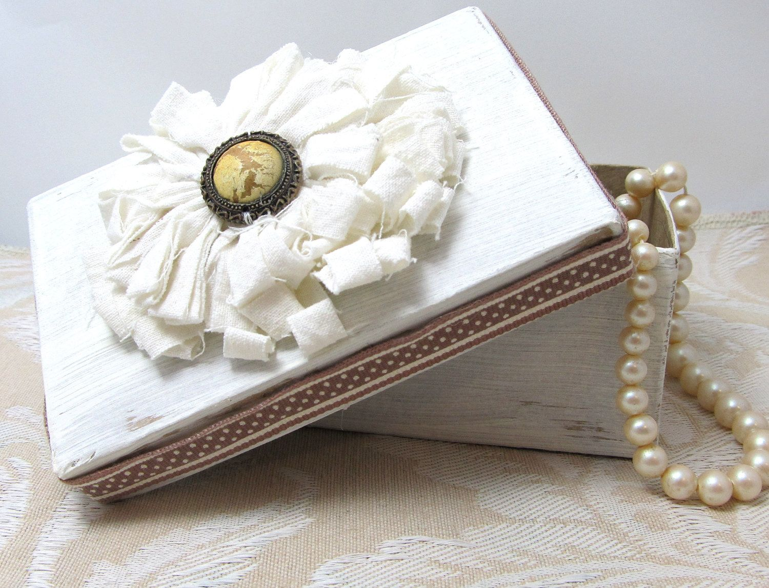 Soft White and Brown Gift Box - Decorative Box - Cottage Chic Box ...