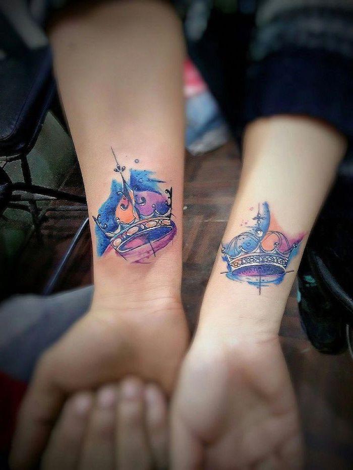 watercolour crowns, couple tattoo ideas, king and queen, wrist tattoos