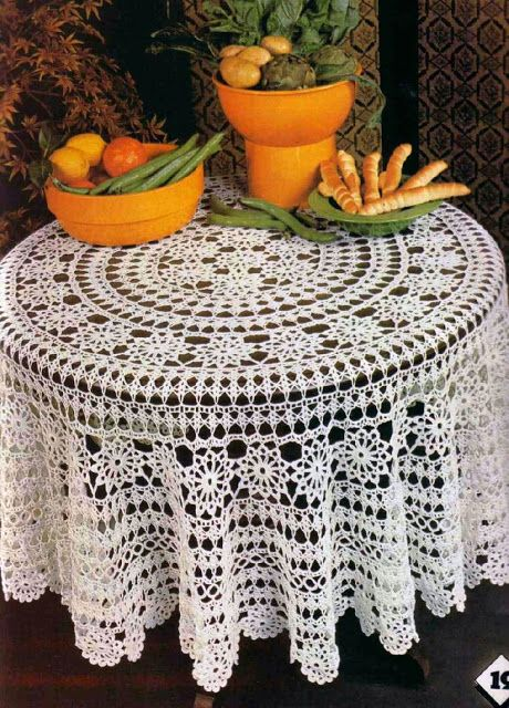 Crochet Round Tablecloth Has Free Pattern In English Over 2 Pages