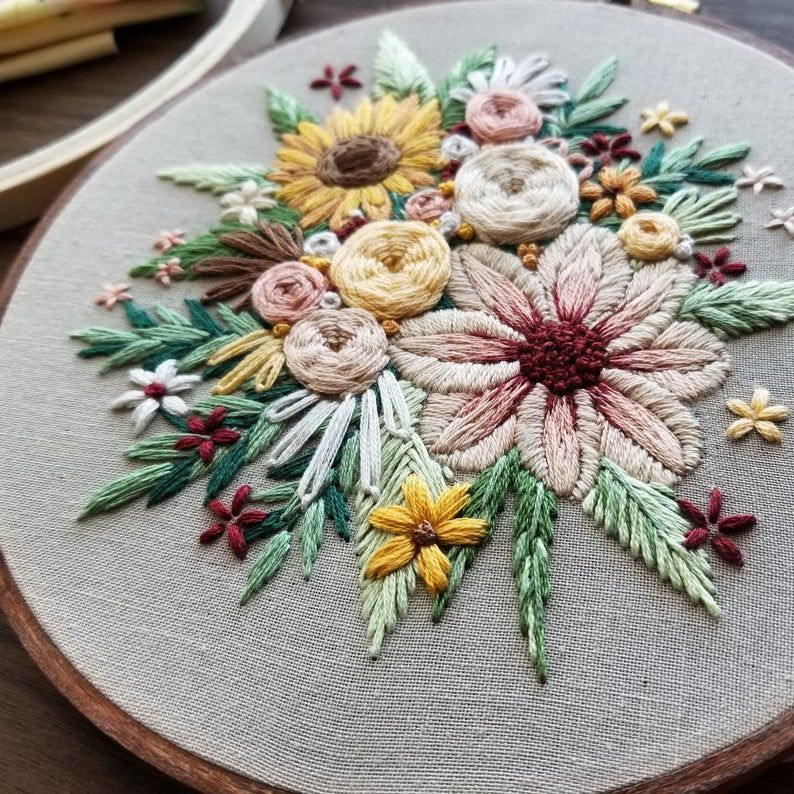 Hand Embroidery PDF: Floral Harvest pattern, Sunflower Bouquet Needlepoint Design, Modern Embroidery tutorial, thread painting guide