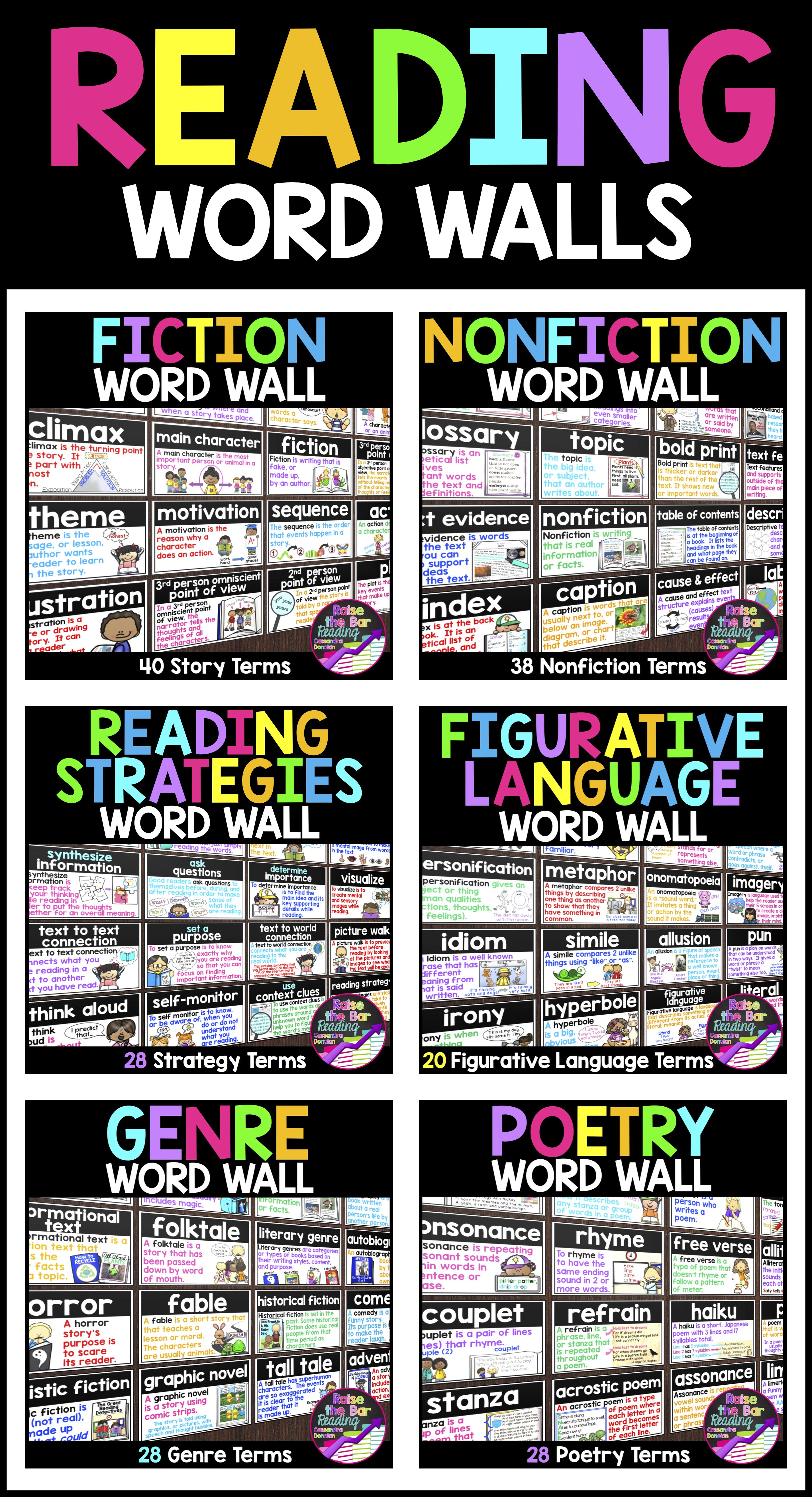 reading word walls bundle 200 reading posters word wall cards or