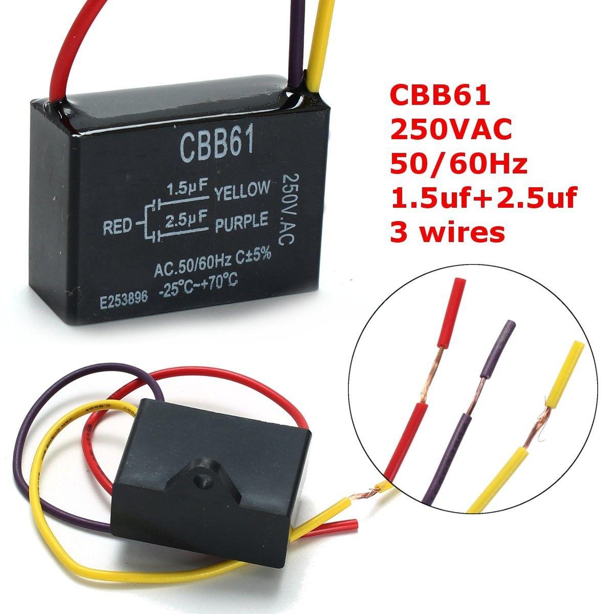 1 Pc Noir Fan Condensateur Cbb61 1 5 Uf 2 5 Uf 3 Fils Ac 250 V 50 60hz Condensateur Pour Ventilateur De Plafond Electronic Products Walkman Components