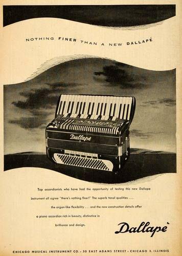 1951 Ad Chicago Musical Instruments Dallape Accordions Original