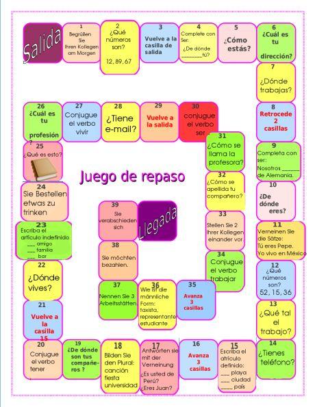 Repaso A1 Juego Entornos De Aprendizaje Actividades Para Clase De Español Material Didactico Para Matematicas