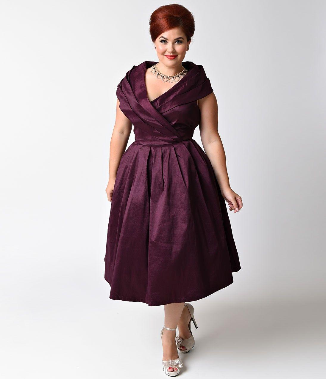 Lindy Bop Plus Size Vintage Style Purple Stretch Amber