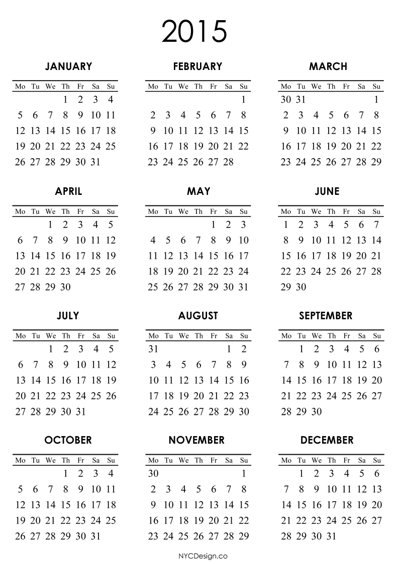 2015 Calendar Printable | Happy New Year 2015 | Pinterest | 2015 ...