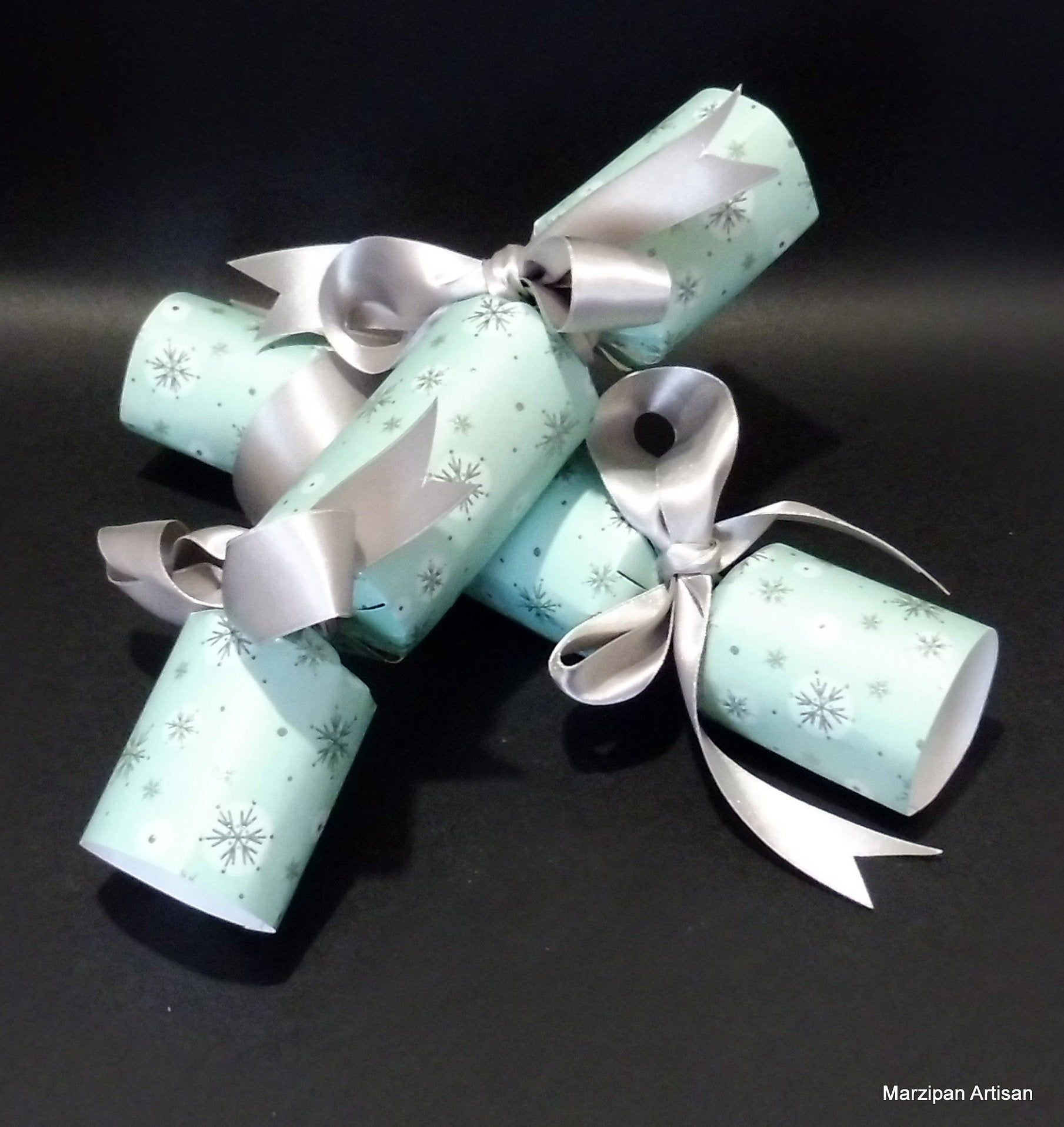Marzipan Sweet Filled Christmas Crackers Aqua Snowflake