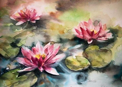 Lily Pads By Sophia Rodionov Watercolor Flowers Watercolor