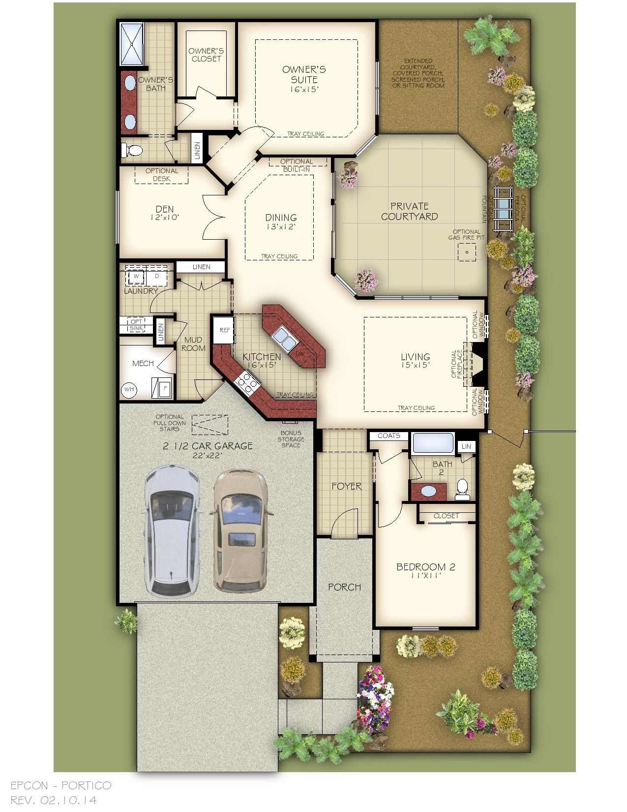 The portico floor plan portico pinterest for House plans with portico garage