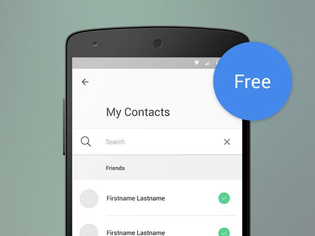 Material Design Contact List With Search Http Dlpsd Com Material