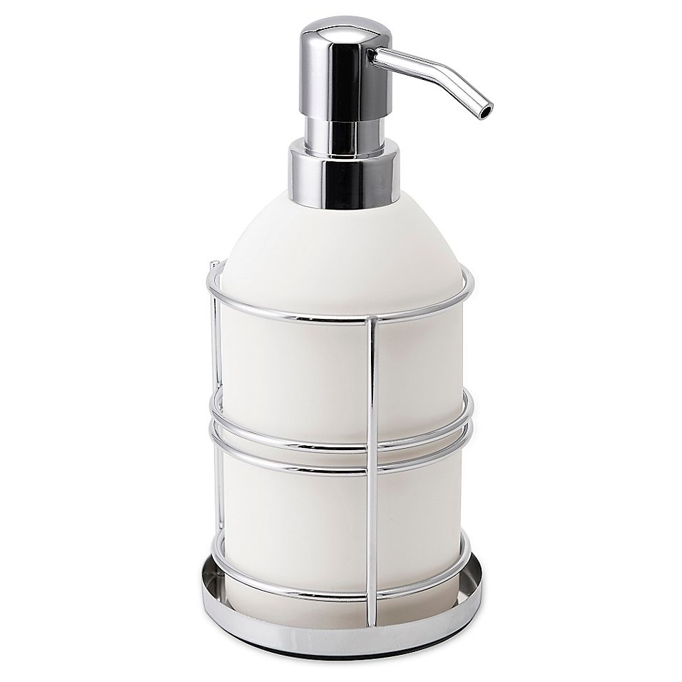 Allure Metalware Lotion Pump In White Chrome Chrome Lotion Bathroom Accessories Sets