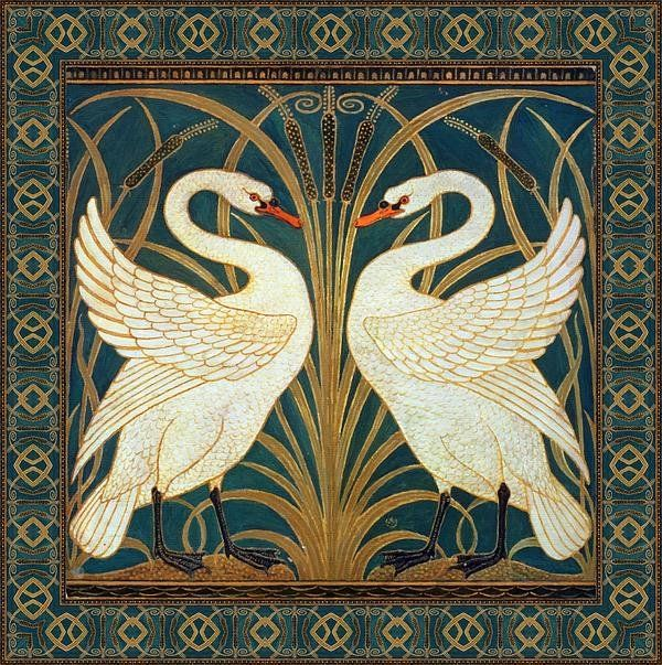 Walter Crane Swan, Rush And Iris (1875) This is one of Walter Crane's earliest designs for wallpaper. Flowers and animals were the most common decorative elements of The Arts and Crafts Movement. BuyWalter Crane...