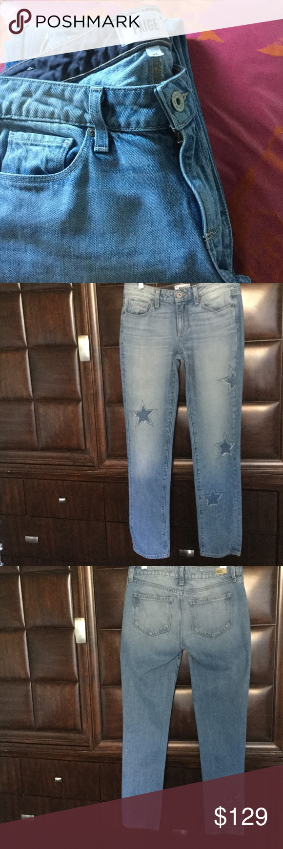 af5fc83c1df Paige Denim Jimmy Jimmy Skinny Athena Indigo Patch Star-shaped patches with  frayed edges lend