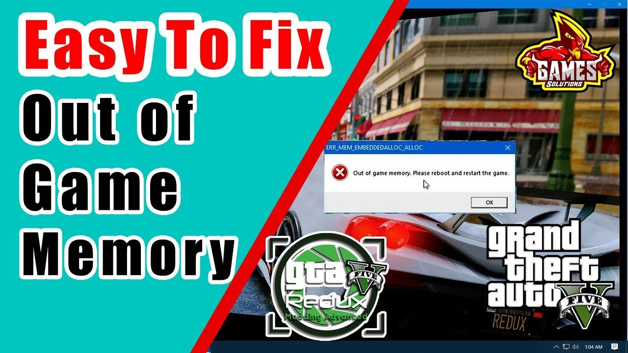 How to Fix GTA V Out of Game Memory Error (Redux Mod 2019) | Install